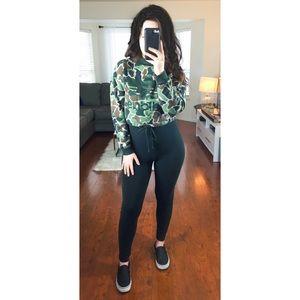 Adidas Camo Print Crop Sweatshirt